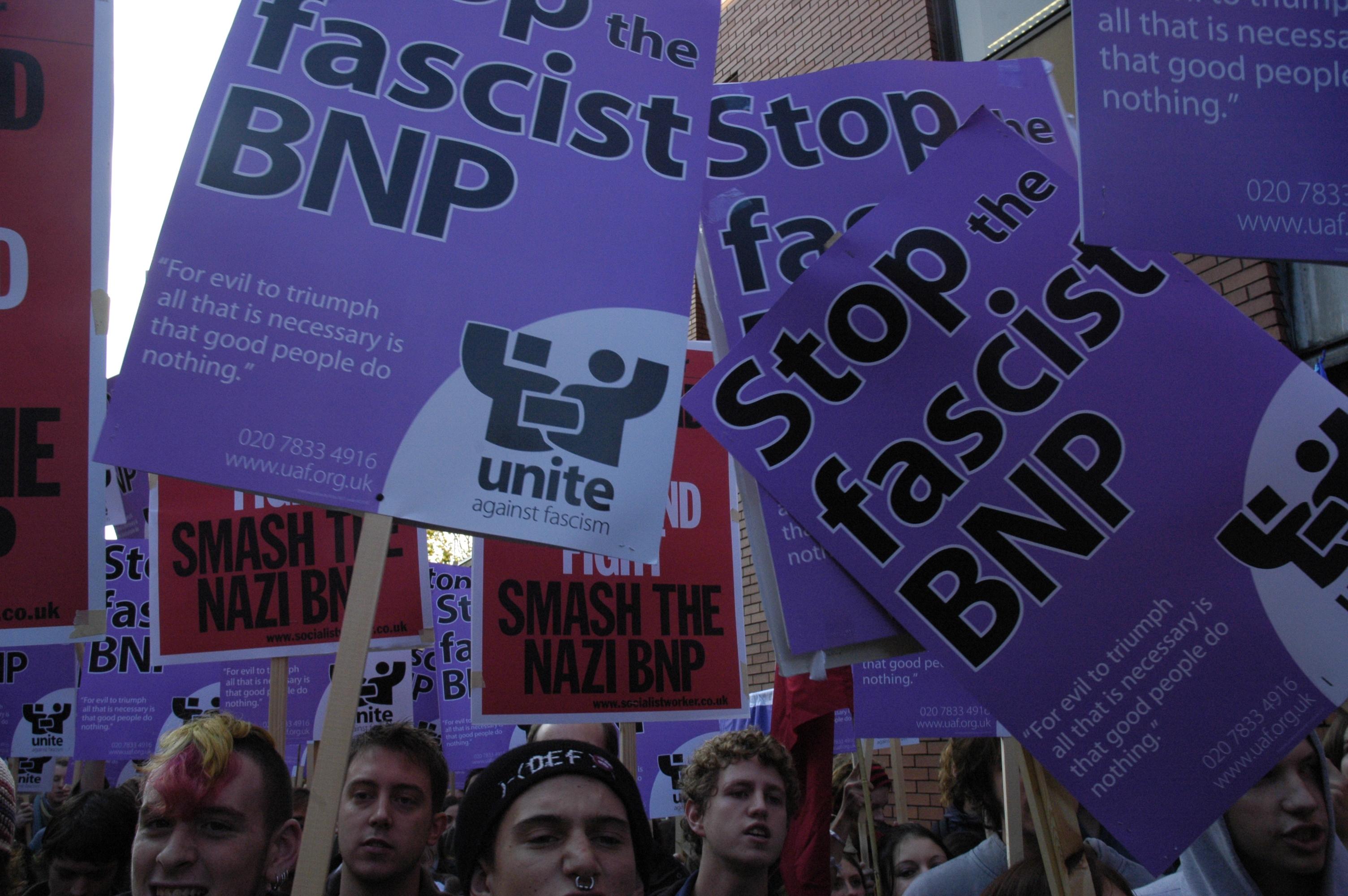 protestors at the unite against fascism march in Leeds