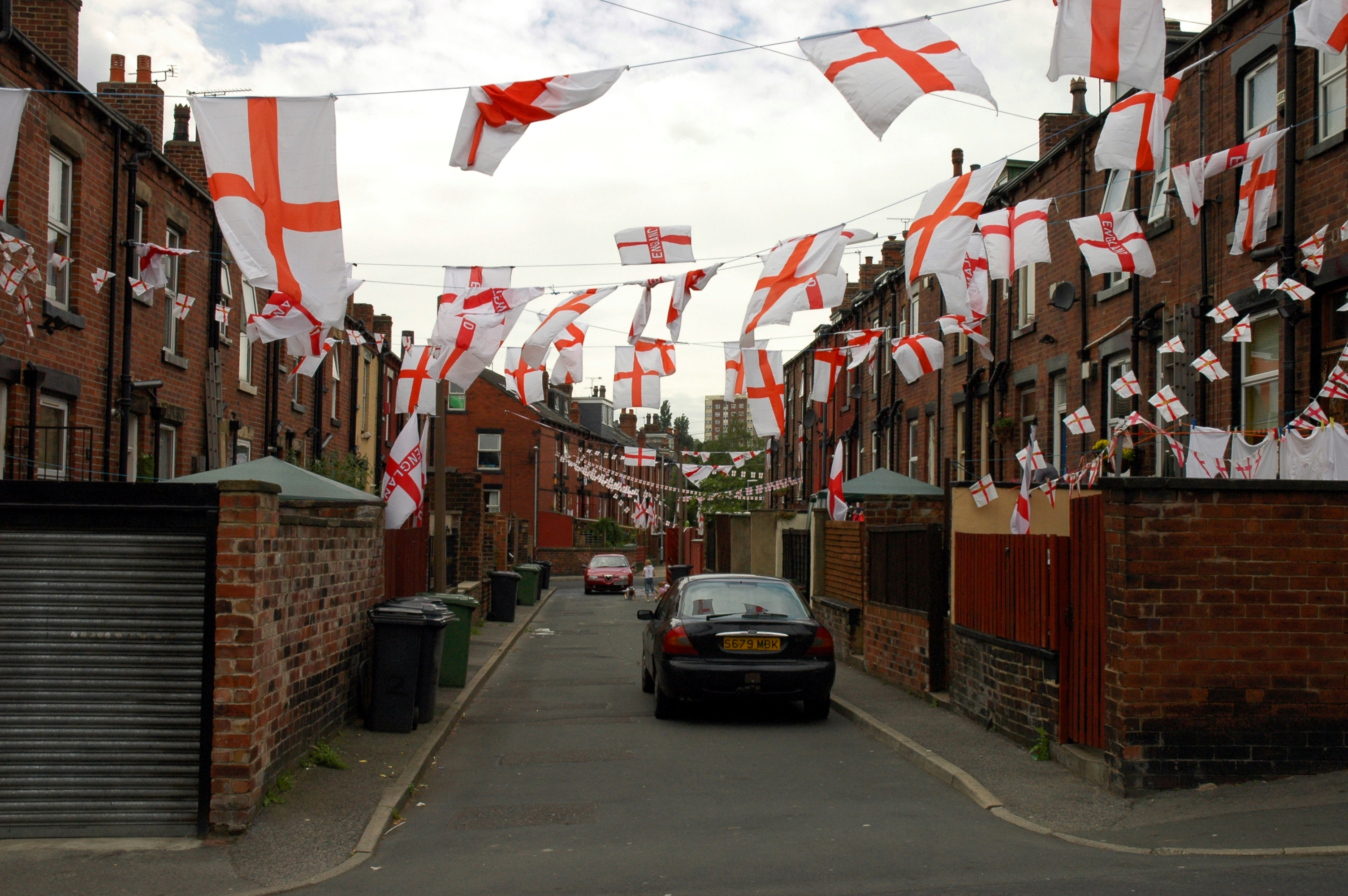 photo of England flags on an estate in Armley