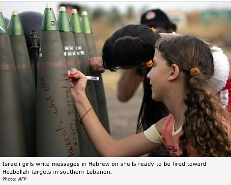 Israeli girls write on shells