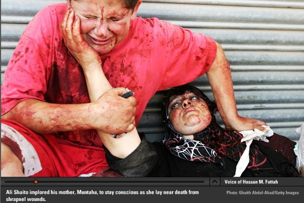 Lebanese boy with mother dying from shrapnel wounds